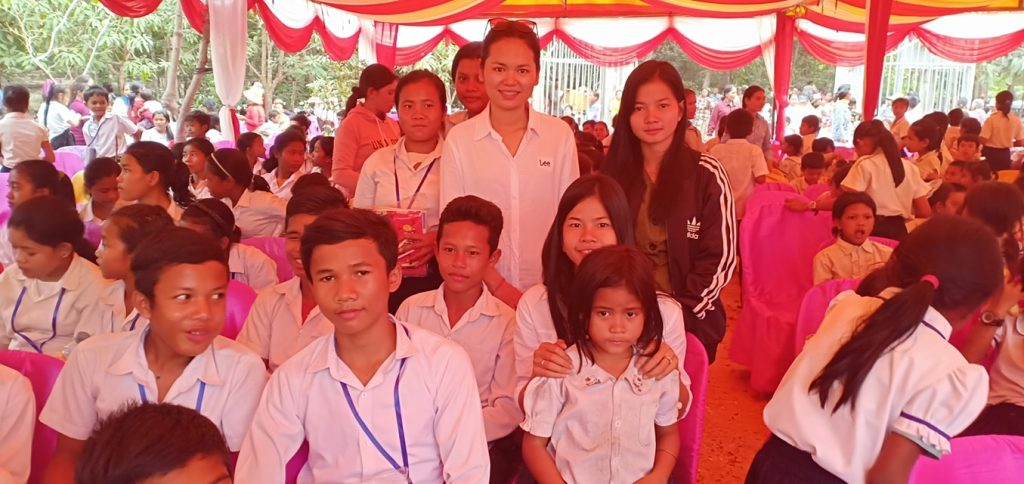 Scholarship girls with students